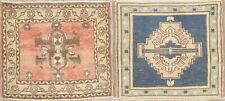 Vintage Muted Square Oushak Area Rug Handmade Wool Oriental Geometric 2x2 Carpet