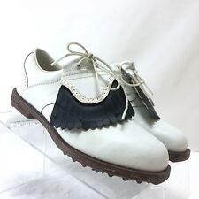 Lady Fairways Womens Leather Golf Shoes Full Kilt Size 7.5M White Flex Spikes
