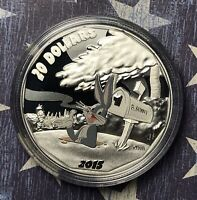 2015 BUGS BUNNY LOONEY TOONS SILVER $20 COLORIZED CANADA COLLECTOR COIN.