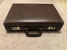 Vintage Presto Briefcase Office Brown Leather Combination Lock  18 X 12 X 5