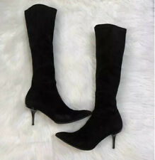 gianmarco lorenzi High Stretch Suede Sock Boots 39.5 Black Slim Heel Half Zip