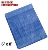 6' x 8' Poly Tarp Blue Multi-Purpose Waterproof Cover Shelter Camping Tarpaulin