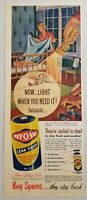 1950 Print Ad Ray-O-Vac Flashlight Batteries Happy Mother Covers Baby in Crib