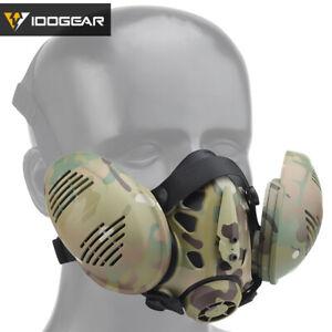 IDOGEAR Tactical Bilateral Respirator Half Face Mask Facepiece Airsoft Mask Camo