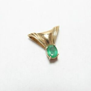 Estate 10K Yellow Gold 1.20 Ct Natural Oval Lime Green Emerald Solitaire Pendant