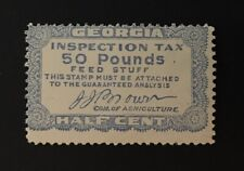 Georgia State Revenue - ½ cent - 50 lbs. Lt. Blue Feed Stuff Tax #FE27 MNH - GA