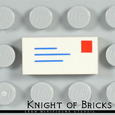 Lego Minifigure WHITE Tile 1x2 Mail Envelope Address and Stamp
