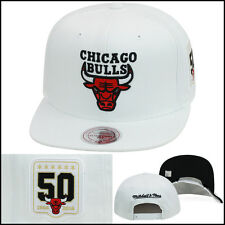 Mitchell & Ness Chicago Bulls Snapback Hat 50th Anniversary 1966-2016 ALL WHITE