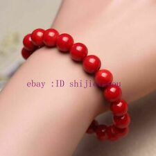 Charming 6MM Coral Red Bracelet Round Beaded Gemstone Stretch Bracelets 7.5''