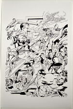 JACK KIRBY SUPER HEROES COLLAGE B/W Pin Up 70's Art MARVEL Spider-Man FF Cap SS