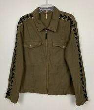 Free People Faye Military Rocker Jacket Lace Up Sleeve Moss Women's Sz M