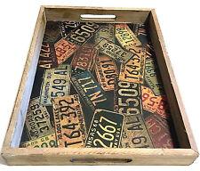 "Wood Tray Car States License Plates Print Rustic Bhemian Retro Charm 14"" x 10"""