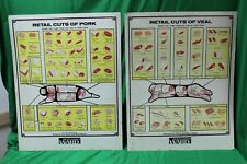 Butcher Meat Beef Pork Veal Lamb Board Charts / Montgomery Ward Sign 22 X 28""