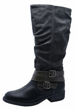 LADIES BLACK RIDING TALL KNEE-HIGH LEATHER LINED ZIP-UP BOOTS SHOES SIZES 3-8