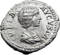 JULIA DOMNA  209AD Rome Silver Authentic Ancient Roman Coin JUNO Regina  i65085