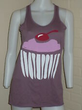 NEW PURPLE CUPCAKE TUNIC RACERBACK TANK TOP URBAN KAWAII MEDIUM