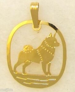 Norwegian Elkhound Jewelry Gold Pendant