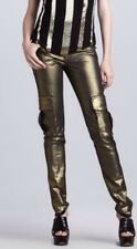 Alice + Olivia Women's Black/Gold Metallic Skinny Stretch Cargo Pants Size 4