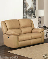 Beige Leather Electric 3 Seat or 2 Seater Armchair Recliner Sofa Suite TOLEDO 32