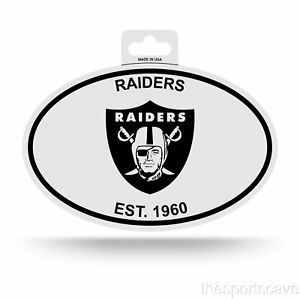 Oakland Raiders Oval Decal Sticker NEW!! 3x5 Inches Free Ship Black & White