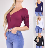 Warm Thermal Knit Henley Shirt Top Women's V-Neck Long Sleeve Solids Stretchy