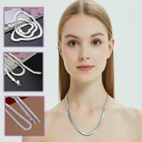 High Polished Men's Women's 925 Sterling Silver  Plated Snake Chain Necklace
