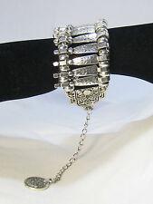 Gypsy Tibetan Metal Arm Cuff with Coin Charm Silver Boho Bracelet
