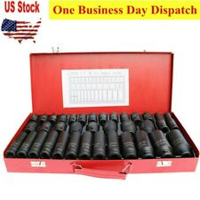 "35pcs 1/2"" Deep Impact Socket Set Drive 8-32mm Metric Garage Sae With Case"