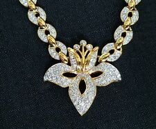Rare 100 Yr. Anniversary Signed Swarovski Pave Crystal Orchid Statement Necklace