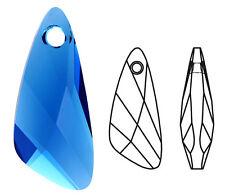 Un Véritable Swarovski Crystal Glass Aile Pendentif 6690, Bleu Capri, 23 mm