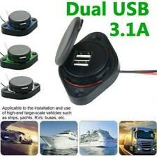 12V/24V 3.1A Car Dual Black ABS USB Port Charger Socket Outlet Waterproof LED