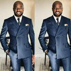 2-teilig Herren Anzüge Gestreift Zweireihig Blazer Tragen Geschäft Jacke Mantel