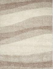 Shag Modern Ivory Beige 2x3 Area Rug Waves Shaggy Carpet -Actual 1' 6'' x 2' 6''