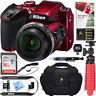 Nikon COOLPIX B500 16MP 40x Zoom Wi-Fi Digital Camera (Red) 16GB 12 Pcs Bundle