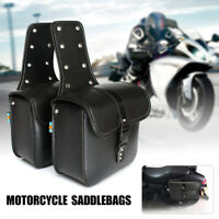 2X Universal Motorcycle PU Leather Saddlebags Luggage Tool Pouches Saddle Bag