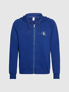Men's Calvin Klein Blue Medium Lounge Zip up Hoodie New
