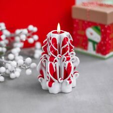 White Red Hand Carved candles Unique handmade gift candle 5 inch / 12 cm