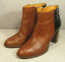 Ladies MADEWELL brown & black leather High-Heel ANKLE BOOTS sz 9.5