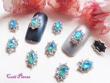 3D Nail Art Aqua Sea Blue AB Rhinestone Silver Frame Web Jewels Gems Alloy Metal