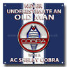 """NEVER UNDERESTIMATE AN OLD MAN WITH A AC SHELBY COBRA METAL SIGN.8"""" X 8"""""""