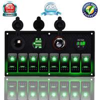 8 Gang 12V 24V Inline Fuse Box LED Rocker Switch Panel Dual USB Socket Car Boat