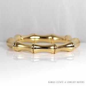 GUCCI BAMBOO LARGE 18K YELLOW GOLD BRACELET SZ 18