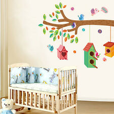 Lovely Birds Chirp On The Tree Branch Wall Stickers Children kids Room DIY