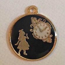 4 X Alice au pays des merveilles enamel Charms-noir et plaqué or dos
