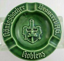 "Ashtray Cigar German Beer Konigsbacher Brauerei Koblenz Majolica Green 6"""