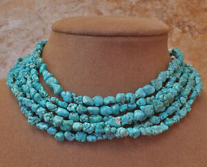 Aimee Fuller Turquoise Nugget Necklace Aqua Baby Blue Chunky Statement Jewelry