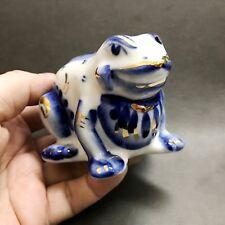 Kröte Figur Porzellan Gzhel Russland weiß-blau Frosch
