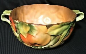 Beautiful Nippon Moriage Morimura 2 Handled Bowl Majolica Look & Feel