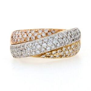 Diamond Crossover Twist Band Ring - 18k Yellow, White, & Rose Gold Round 1.05ctw