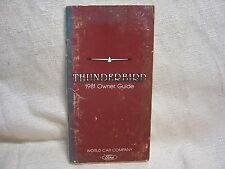 1981 FORD THUNDERBIRD ORIGINAL VINTAGE OWNER'S MANUAL